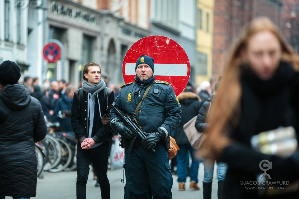 Police on the street after terror attack in Copenhagen